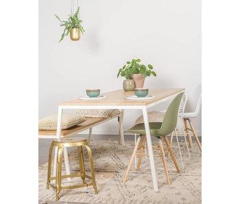 PURE wood design 'Norberg' eikenhouten tafel met stalen onderstel en schuine poten