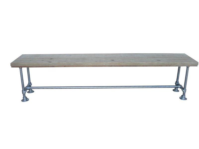 PURE wood design Banc du bois d'échafaudage (avec tubes)