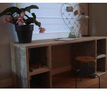 PURE wood design 'Seiland' Bureau van steigerhout met vakken