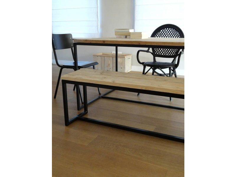 PURE wood design 'Talvik' Industriele bank steigerhout/stalen frame