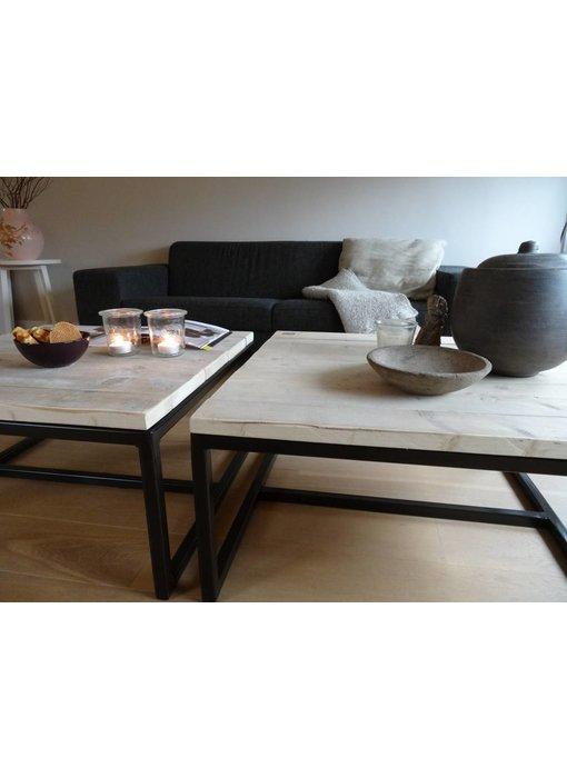 PURE wood design 'Varberg' industriele salontafel steigerhout/staal open