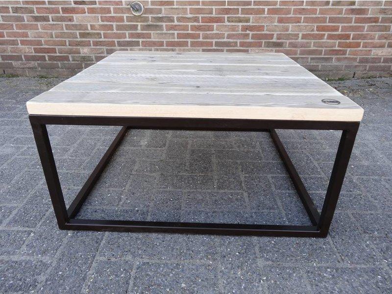 PURE wood design 'Dalvik'' industriele salontafel steigerhout/stalen onderstel gesloten