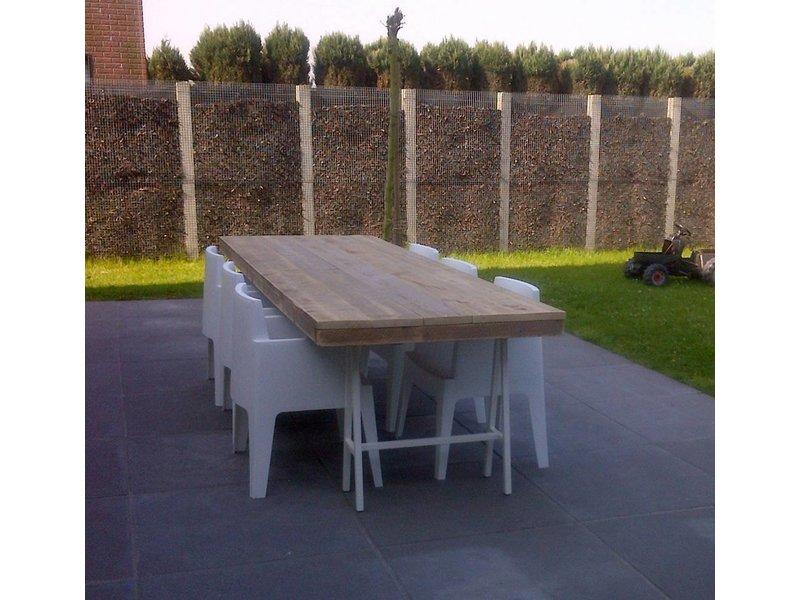 PURE wood design 'Lystrup outdoor' industriele tuintafel steigerhout/schragen