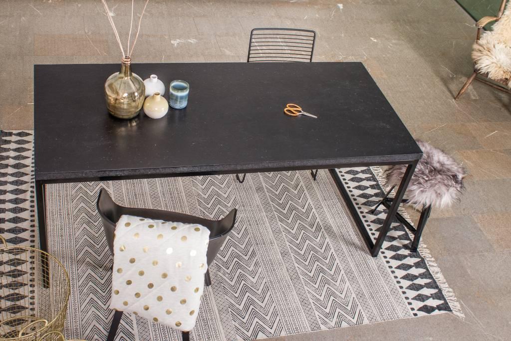 Stalen Design Tafel.Nordland Tafel Met Chipwood En Recht Stalen Frame Pure Wood Design