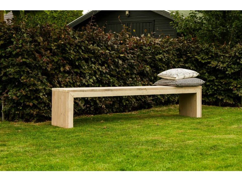 PURE wood design 'Hofland Outdoor' bank steigerhout met dichte zijkanten