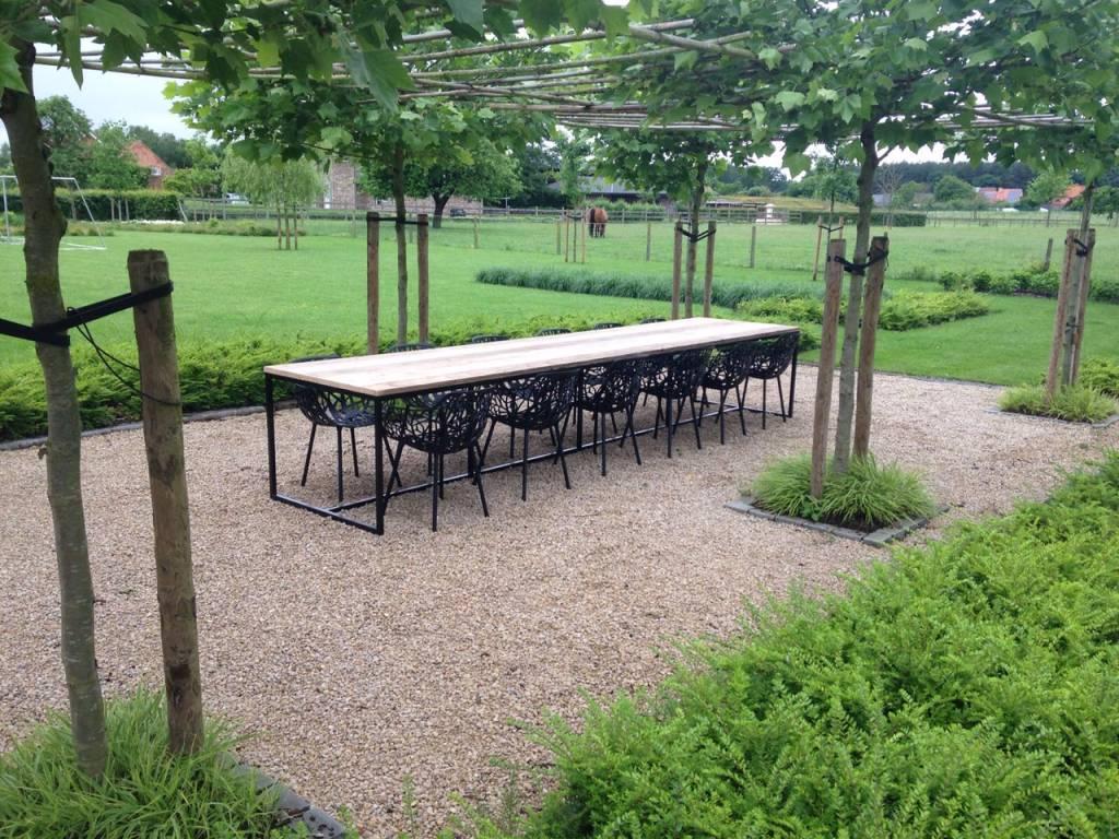 Mooie Steigerhouten Eettafel.Brandal Outdoor Industriele Tuintafel Steigerhout Stalen Frame