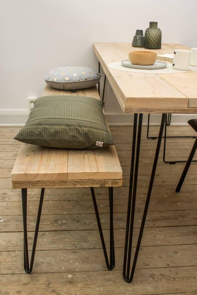 har' industriele tafel steigerhout/hairpin poot - pure wood design