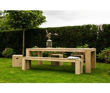 PURE wood design 'Eldalen' Outdoor bank uit steigerhout met blokpoten
