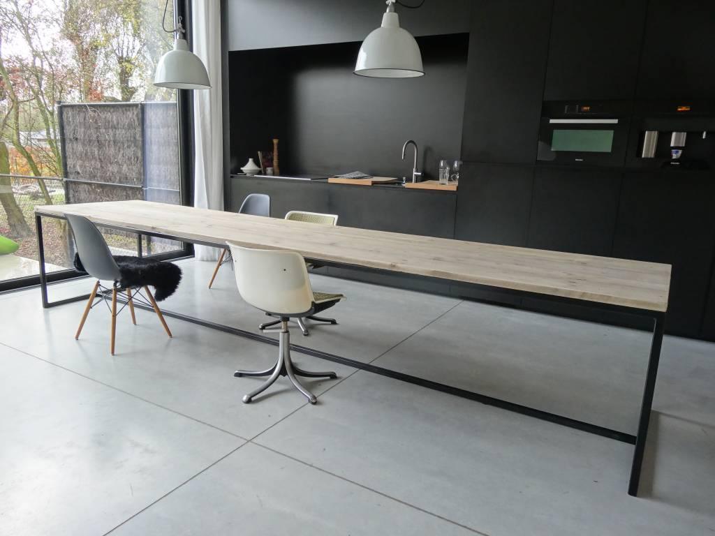 Onderstel Tafel Staal : Brandal industriele tafel steigerhout stalen frame pure wood design