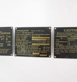 Stencils & Stickers Dataplates Willys MB Brass