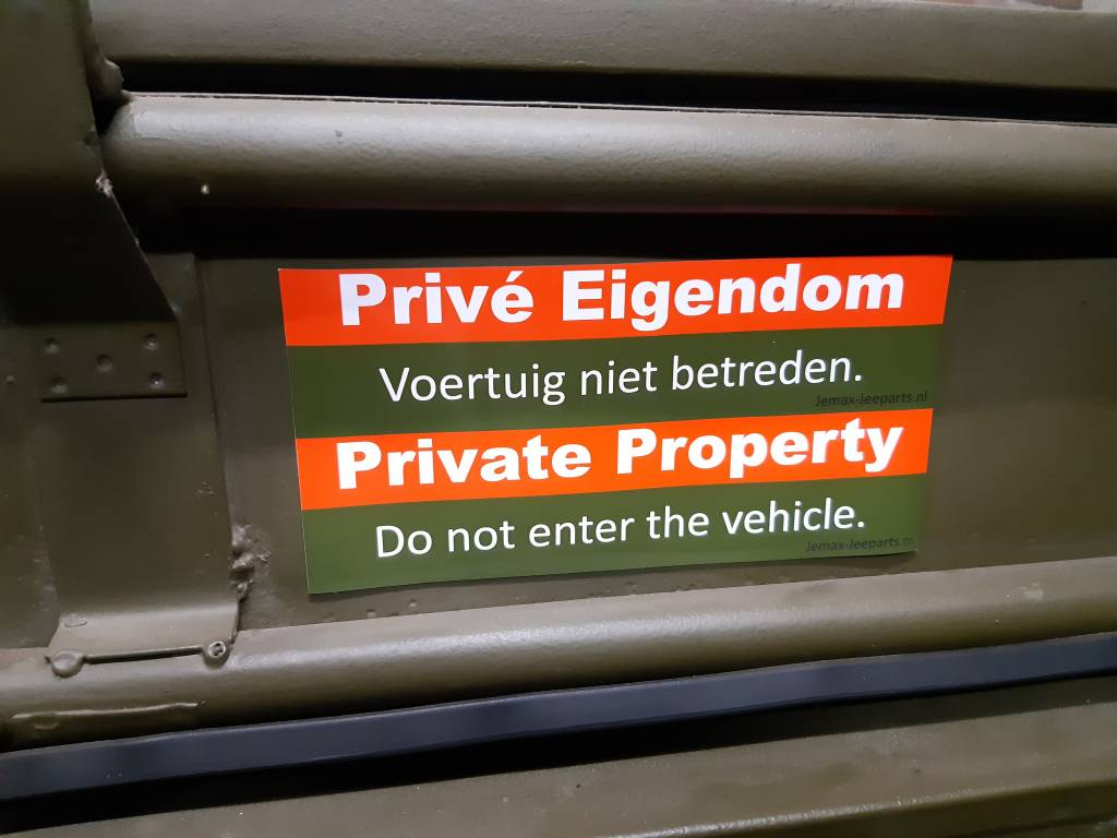 Willys MB Prive Eigendom magneet sticker