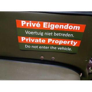 Willys MB Prive Eigendom magneet sticker