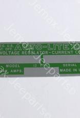 Stencils & Stickers Decal Autolite 12V Generator