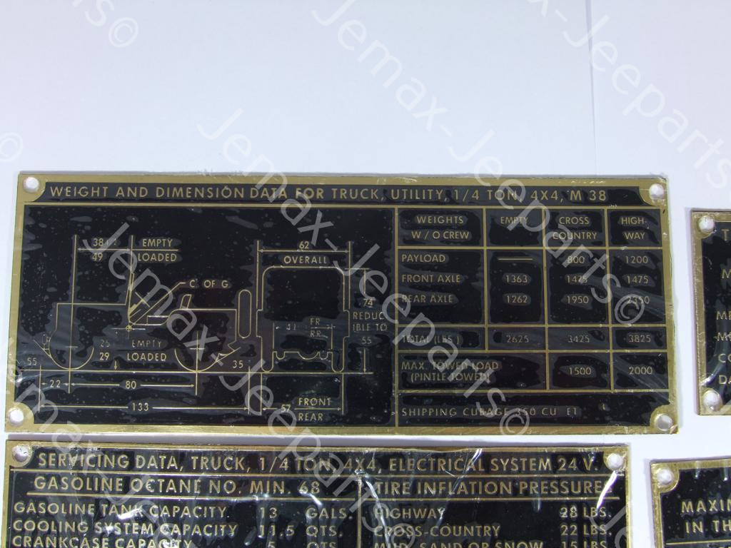 M38A1/Nekaf M38 Data Plate Set