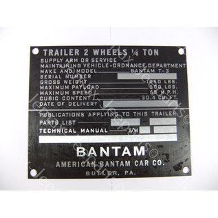 Stencils & Stickers Data Plate Bantam trailer