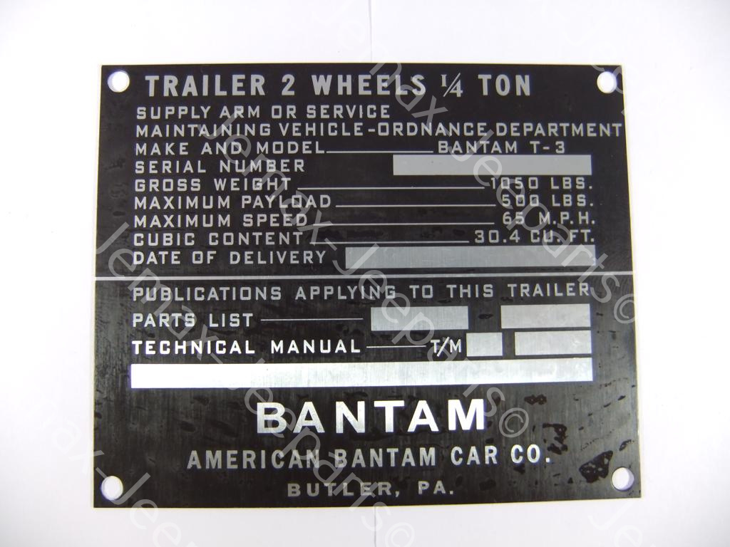 Stencils & Stickers Data Plate Bantam trailer