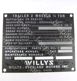 Stencils & Stickers Data Plate Willys trailer