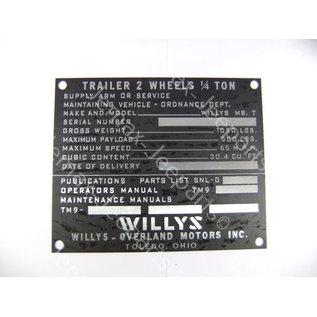 Stencils & Stickers Data Plate Willys trailer