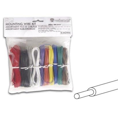 Velleman Jeu de câbles de montage - 10 couleurs - 60 m - Noyau complet