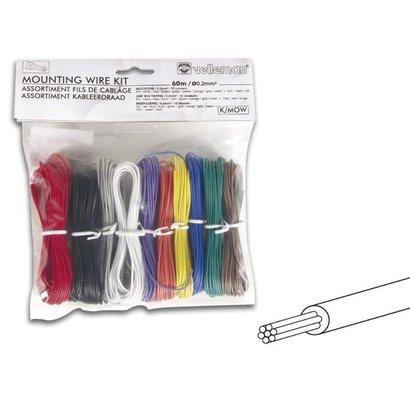 Velleman Set montagekabels - 10 kleuren - 60m - meeraderig