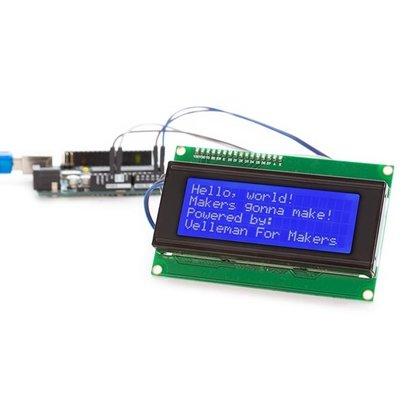 Velleman MODULE LCD 20x4 I²C POUR ARDUINO® - RÉTROÉCLAIRAGE BLEU