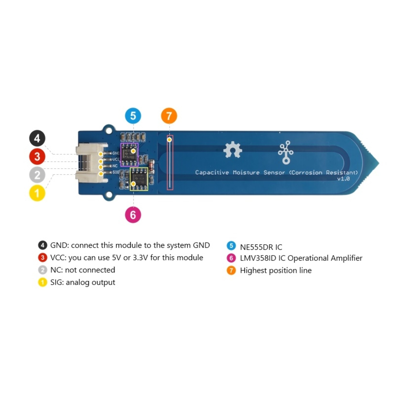 Seeed Grove - Capacitive Moisture Sensor (Corrosion Resistant)