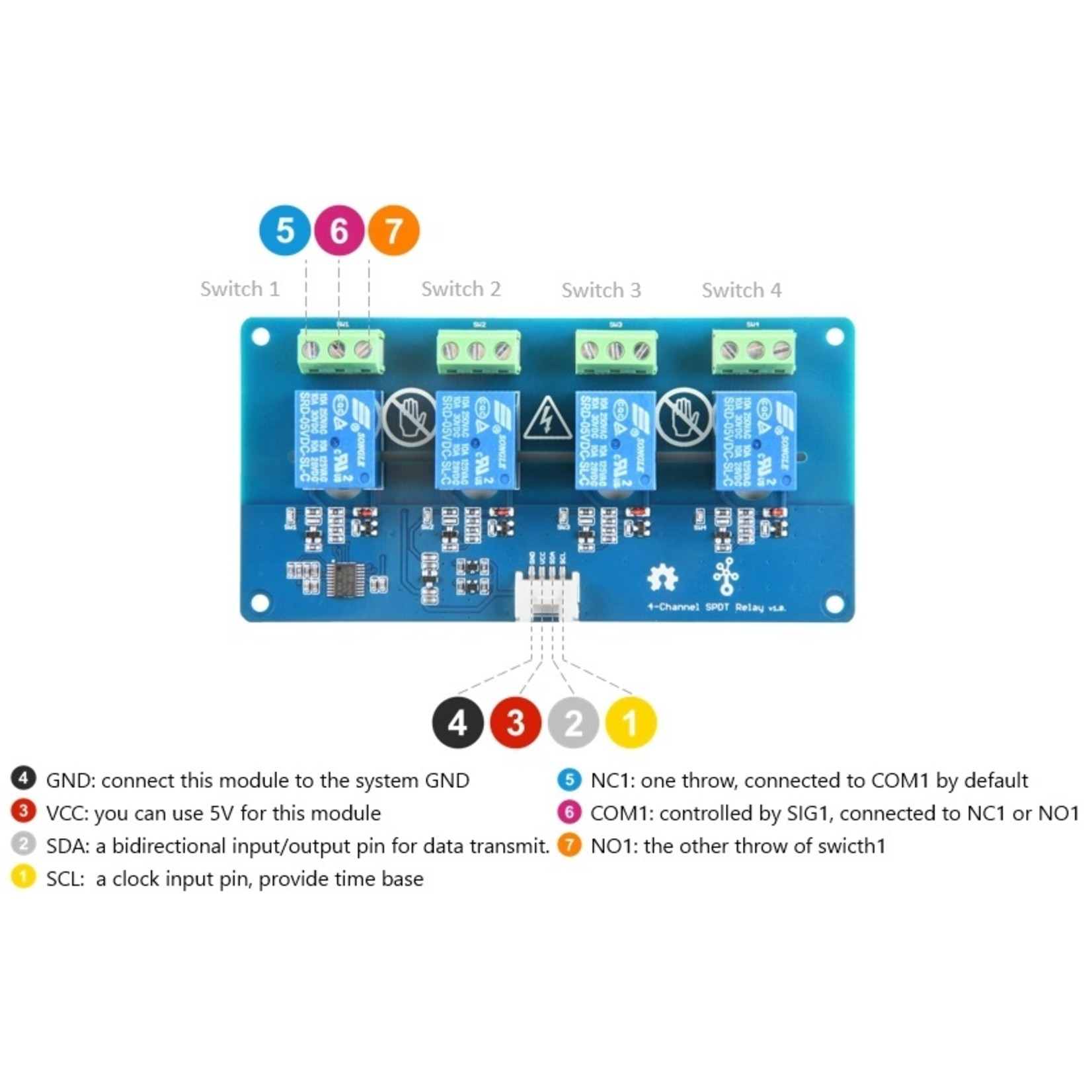 Seeed Grove - 4-Channel SPDT Relay
