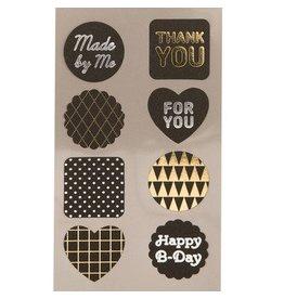 Paper Poetry 4 Bögen Sticker  Labels Schwarz Metallic