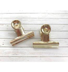 2x große Klemmbrett Klammer Gold 50mm