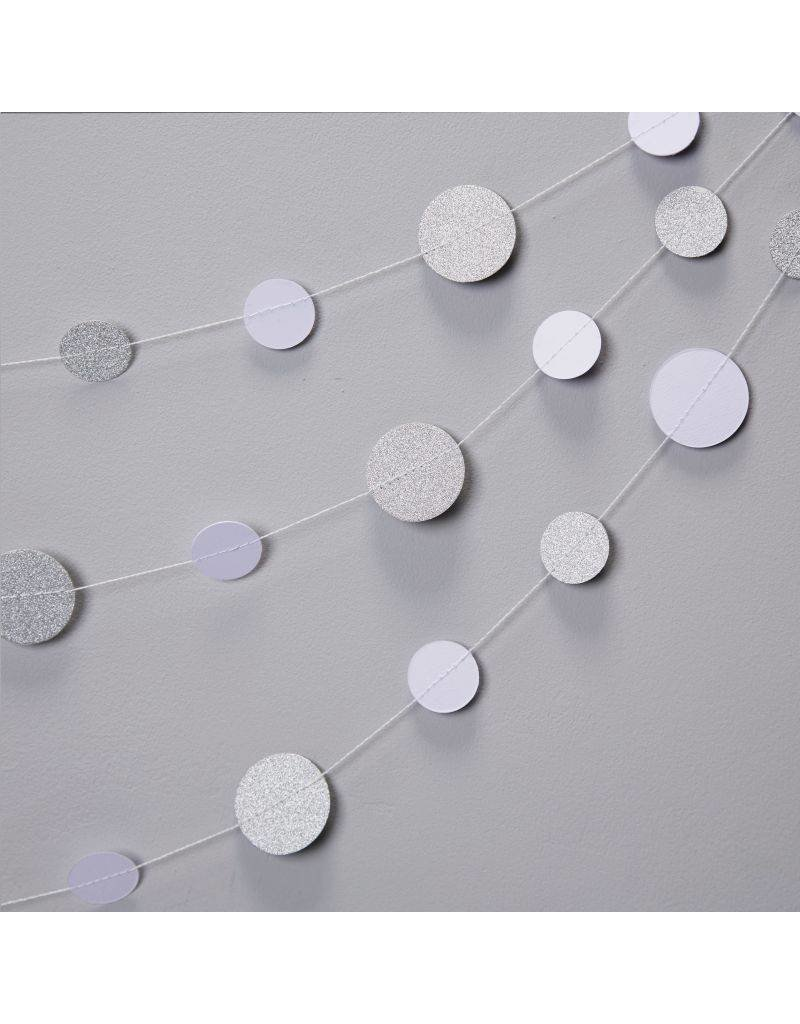 5 Meter lange Circle Girlande Weiß Silberglitzer
