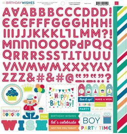Echo Park Birthday Wishes Boy 12x12 Alpha Stickers