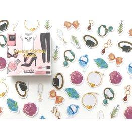 50 kleine Clear Sticker -- Fashion Girl
