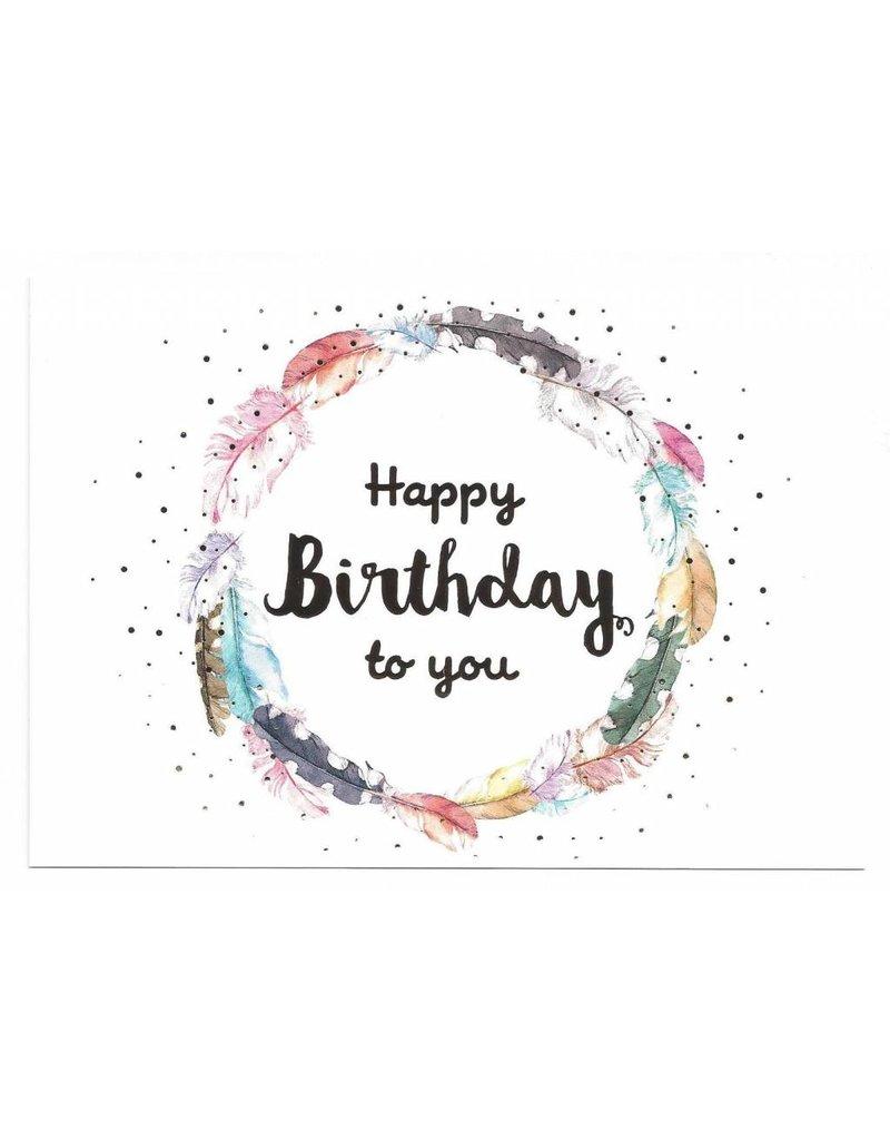 Postkarte mit Goldfolie Happy Birthday