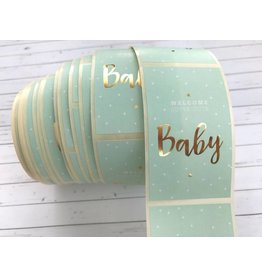 10 Aufkleber Welcome Baby Mint