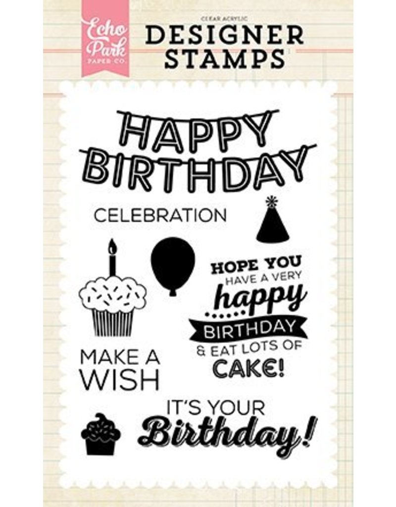 Echo Park Clear Stamp Set It's Your Birthday