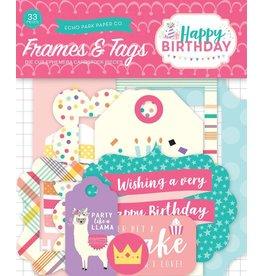 Echo Park Happy Birthday Girl Ephemera Tags & Frames