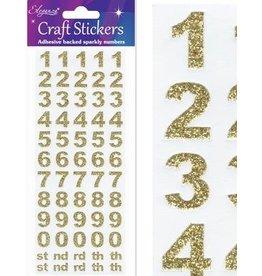Eleganza Zahlen Glitzer Sticker Gold