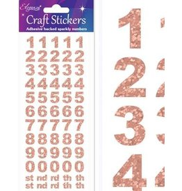 Eleganza Zahlen Glitzer Sticker Rosegold