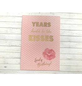 Postkarte mit Goldfolie Birthday Kisses