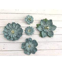 5 Blüten aus Maulbeerpapier Blau