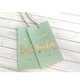 2x Hangtags Welcome Baby Mint