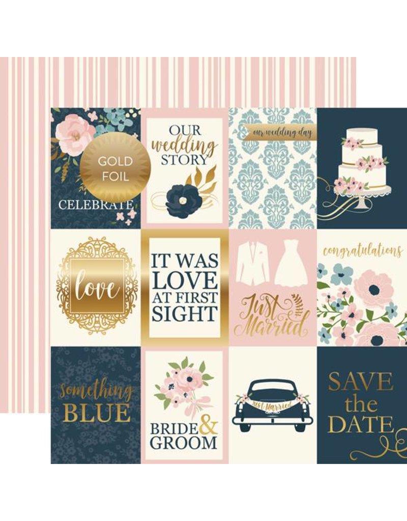 Echo Park Cardstockbogen Just Married 3x4 Journaling Cards
