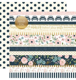 Echo Park Cardstockbogen Just Married Border Strips