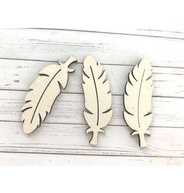 3 Federn aus Holz Weiß