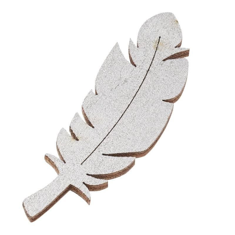 3 Federn aus Holz Silber
