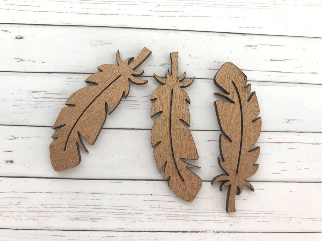 3 Federn aus Holz Kupfer