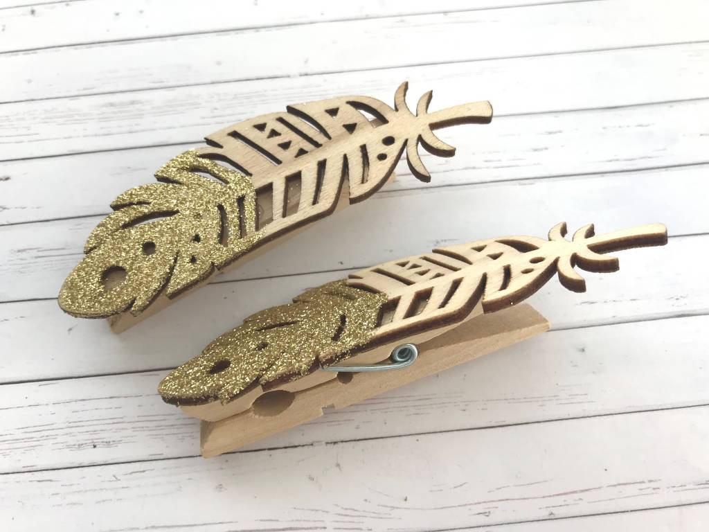 2x Holzfeder auf Holzklammer Gold