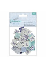 50x Wooden Tile Letters Moroccan Blue