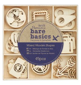 45x Wooden Shapes  - Bare Basics - Travelling