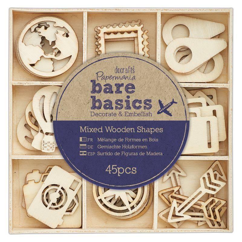 45x Wooden Shapes  - Bare Basics - Travelling